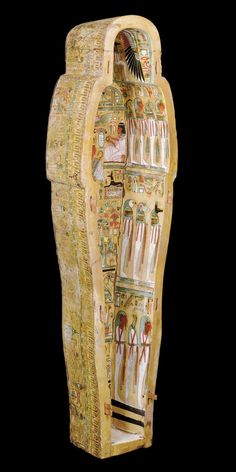 https://flic.kr/p/a38eH8 | The Dynasty XXI Sarcophagus (Inside-Right/Outside-Left) | Sarcophagus (and Mummy) of Neshkons Material: Painted Sycamore Fig Wood Origin: Ancient Egypt (Third Intermediate Period, Dynasty XXI) Dated: c. 900–940 BCE  Displayed is the trough of the Merrin Gallery's Dynasty XXI sarcophagus — visible are notable scenes on both the inside-right and outside-left (from the POV of the photo).  The inside-right (pictured) is plastered with three registers of mummiform…