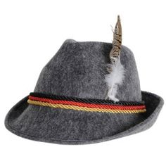 German Alpine Hat. I have a gray fedora similar to this-- maybe I could make my own by getting red/black/gold braid or ribbon, applying it to the hat, and then sticking a feather in it?