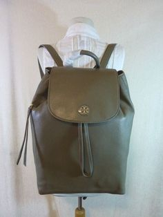 f5711afe8e9 NWT Tory Burch Porcini Gray Leather Brody Large Backpack  495  ToryBurch   Backpack Back To