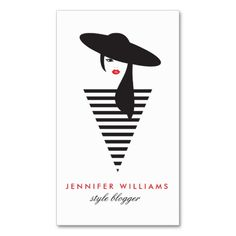 Elegant Glamour Mod Stylist, Salon, Blogger Business Card Template - Bold black and white fashion illustration is eye-catching and unique. Easy to personalize. Printed on high quality card stock. Fast shipping. Design by 1201AM CREATIVE.