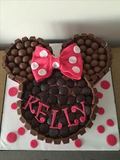 Minnie Mouse chocolate cake with maltesers and kit kats!!