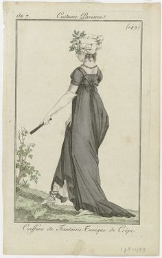 Journal des Dames et des Modes, Costume Parisien 1799 -- I love the bow back and her shoes!