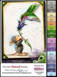 House mouse card with copic colors used
