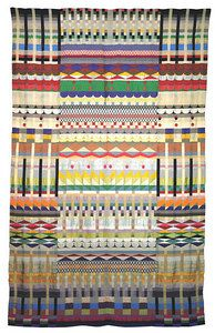 """Jacquard wall hanging """"5 Chöre"""" (5 Choirs) 1928 Cotton, wool, rayon and silk 229 x 143 cm  Museum für Kunst und Kulturgeschichte der Hansestadt, Lübeck  This stunning example of Jacquard weaving was acquired by the Museum in 1929 on the occasion of a Bauhaus exhibition."""