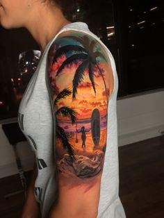 66 Ideas Palm Tree Tattoo Sleeve Tat For 2019 - Tattoos - Ocean Sleeve Tattoos, Octopus Tattoo Sleeve, Tree Sleeve Tattoo, Best Sleeve Tattoos, Sleeve Tattoos For Women, Tattoo Sleeve Designs, Tattoo Tree, Hawaiian Girl Tattoos, Hawaii Tattoos