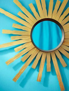 Make your own trendy sunburst mirror using stir sticks. Instructions: http://www.bhg.com/decorating/do-it-yourself/accents/diy-accessories/?socsrc=bhgpin051513sunburstmirror=20