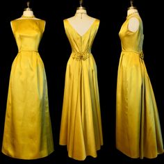 Golden Couture ~ Vintage 60s Satin Bustle Gown XS S ~ Helena Barbieri by labellevintage on Etsy https://www.etsy.com/listing/207094723/golden-couture-vintage-60s-satin-bustle