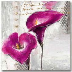 Très jolie toile florale peinte Peinture avec relief style contemporain