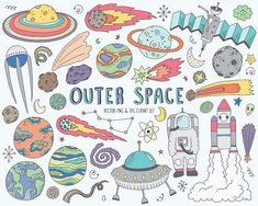 Space Clipart  Cute Space Doodles Clip Art Set by KennaSatoDesigns