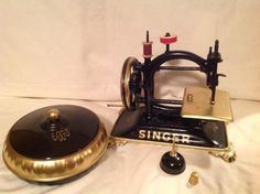 """from: Dannie Isaacs: """"(Late 1800's) cast iron,hand cranked sewing machine"""