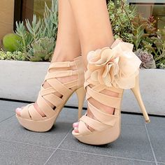 Women's Wedding Shoes Fall Fashion 2017 Holiday Party Outfit Thanksgiving Outfit Beige Open Toe Platform Flora Hollow Out Stiletto Heels Wedding Shoes Edgy Wedding Dresses Shoes Mermaid Wedding Dress Heels for Wedding, Big day Wedding Shoes Heels, Prom Shoes, Dress Shoes, Wedding Guest Heels, Edgy Wedding, High Heels For Prom, Cute High Heels, Bridesmaid Shoes, Wedding 2015