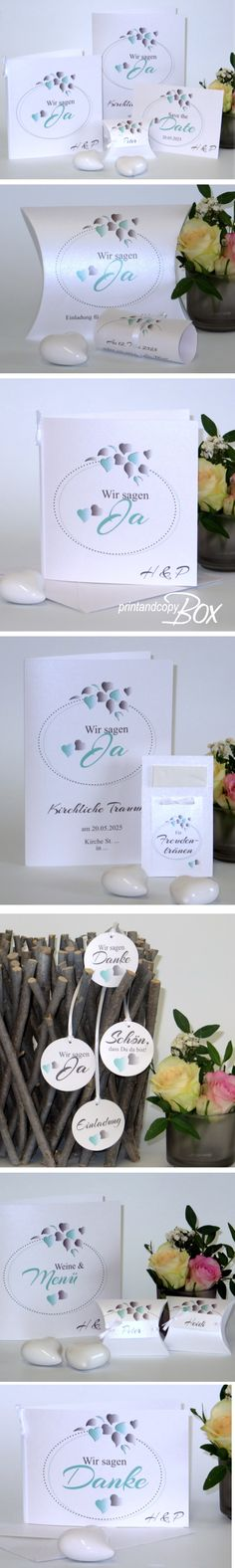 Mint ist Trend! Hochzeitskarten und Deko im modernen Look. #mint #hochzeitskarten #trend