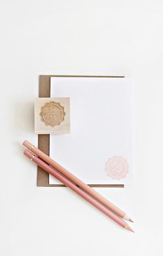 Items similar to Custom stationery stamp, double initial, wedding rubberstamp on Etsy