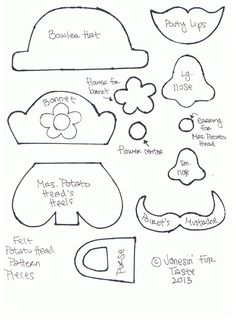 Mr and Mrs Felt Potato Heads are fun as felt dolls or for use in quiet book pages. Quiet Book Templates, Felt Templates, Applique Templates, Applique Patterns, Card Templates, Felt Board Patterns, Quiet Book Patterns, Felt Board Stories, Felt Stories