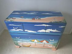 Hand Painted Chest of Drawers Sturdy Seaside Theme with Boats | eBay