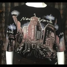 New York tee Embellished 1/2 sleeve pullover w/no hood Ocean Drive Jeans Straight Leg