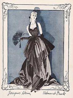 Fashion illustration by René Gruau, 1945, Jacques Heim.