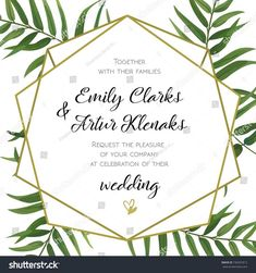 Wedding Invitation, floral invite card Design with green tropical forest palm tree leaves, forest fern greenery simple, geometric golden border hexagonal print. Best Wedding Vows, Wedding Guest Book, Wedding Card Design, Wedding Cards, Wedding Favours Magnets, Foil Wedding Invitations, Simple Weddings, Wedding Simple, Floral Invitation