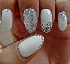 Oval white and silver nails
