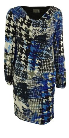 Muse Women's Cowl Neck Printed Houndstooth Jersey Dress