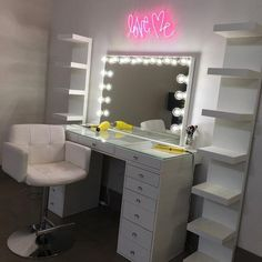 Impressions Vanity SlayStation® Plus Tabletop + 6 Drawers Unit Bundle + Bluetooth Vanity Mirror with Lights Cute Room Decor, Teen Room Decor, Room Ideas Bedroom, Diy Bedroom Decor, Vanity Makeup Rooms, Vanity Room, Ikea Vanity, Beauty Room Decor, Makeup Room Decor