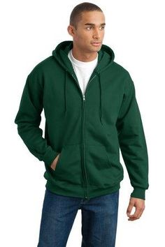 Hanes Ultimate Cotton Full Zip Hooded Sweatshirt in Deep Forest, with a custom logo Hooded Sweatshirts, Pullover Sweaters, Men Sweater, Hoodies, Navy Blue Hoodie, Mens Big And Tall, Zip Hoodie, Hooded Jacket, Casual