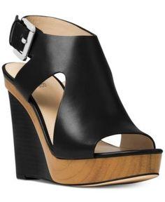 Michael Michael Kors Josephine Wedge Sandals - Black 9.5M