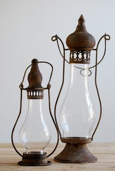 Antique lanterns which basically use a Lamp Chimney for their globe and probably hold a Candle for the Light source. Old Lanterns, Antique Lanterns, Antique Oil Lamps, Vintage Lamps, Vintage Lighting, Vintage Decor, Glass Lanterns, Vintage Metal, Lantern Lamp