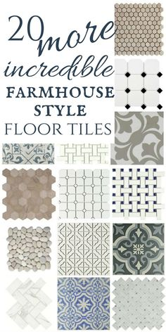 What a great collection of farmhouse style floor tiles! check out the awesome neutrals, mosaics, and painted ceramic floor tiles! #TwelveOnMain #flooring #homedecor