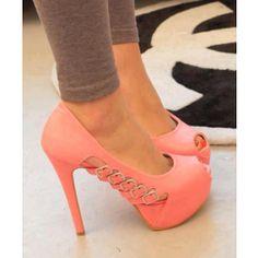 Noble Pink Coppy Leather Peep Toe Platform High Heel Shoes $50.09