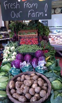 Farmer's market chalkboard sign, healthy vegetables