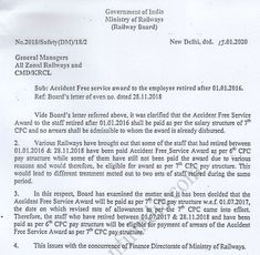 Accident Free Service Award as per CPC pay structure to retired railway employee after Pay Commission Pay Structure - Railways Central Government, Service Awards, Ministry, India, News, Free, Goa India