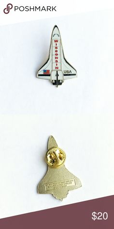"Vintage Space Shuttle Enamel Pin Vintage Wisconsin Space Shuttle Enamel Pin  • true vintage • 1  1/2"" x 1"" • colors: gold, red, white, blue, black, gray • tags: USA, United States, space race, outer space travel, NASA, apollo 13, nerd, nerdy, future, science, galaxy, stars, black hole, planets, solar system, hat, lapel, vest, brooch, jacket, bag • all of the pins I sell are vintage and may contain minor nicks, imperfections, or oxidation Vintage Accessories"