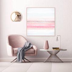 grand tableau abstrait en blanc et rose pastel harmonie avec les meubles