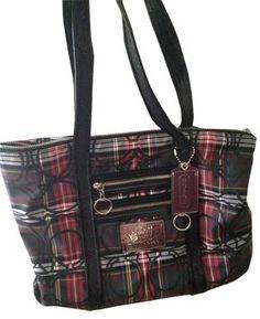 Coach Poppy Tartan Glam Tote Bag