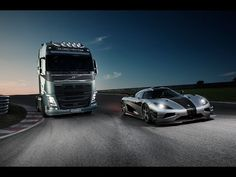 Volvo Trucks - Volvo Trucks vs Koenigsegg: a race between a Volvo FH and a Koenigsegg One:1 - YouTube