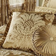 Contessa Damask Comforter Bedding by J Queen New York - Square Pillow with pleated edges - QUANTITY = 2