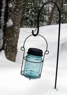 Hanging Solar Light Blue Ball Vintage Jar. Rustic, Farm House Garden Decor, Hanging Garden solar lanterns.