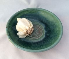 Stoneware pottery garlic grater dish, matte and gloss green glaze- perfect for bread dipping in garlic and oil - pinned by pin4etsy.com