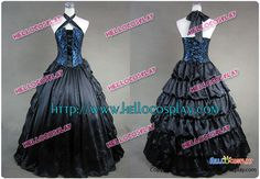 Victorian Gothic Satin Brocaded Frill Dress Gown Prom Cosplay [113 L] - $120.00 : Hello Cosplay : Cosplay Costumes :Cosplay Wigs