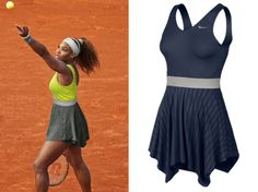 Serena Williams will be defending her title in the oddly named Novelty Knit Dress in Dri-FIT jersey fabric. The skirt, back and straps of the dress are made of a jacquard Dri-FIT fabric that is 100% recycled polyester. Interestingly while the dress comes in Midnight Navy - the traditional colour of choice for the clay courts of Roland Garros - Nike have chosen the Venom Green colourway for their Paris 2014 Press Release.