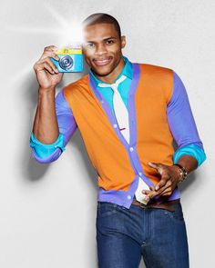 New Ideas For Basket Ball Fashion Shoot Russell Westbrook Nba Fashion, Weird Fashion, Fashion Shoot, Colorful Fashion, Mens Fashion, Russell Westbrook Outfits, Jersey Outfit, Ralph Lauren Black Label, Dress For Success
