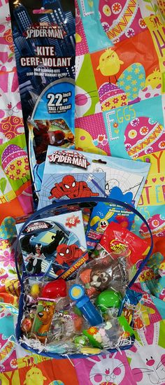 Kids Easter Basket Filled Spiderman Chocolate Bunny Jelly Beans Puzzle Kite Fun #Unbranded #Easter
