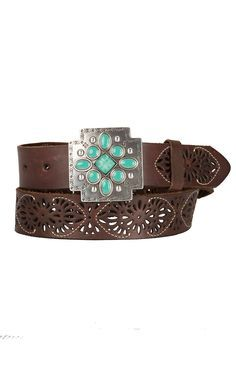 Ariat Women's Brown Leather with Silver & Turquoise Cross Buckle Belt A1516402 | Cavender's