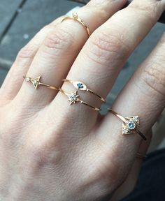 14K Blue Diamond Eye Ring, Evil Eye Ring, All Seeing Eye Ring, Blue Eyes, Diamond Ring, Solid Gold, Stacking Ring, Dainty Jewelry