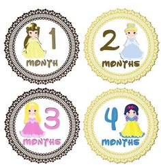 Monthly Baby Girl Disney Princesses Stickers Month by LabelitAll