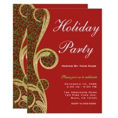 Red Green Gold Swirl Christmas Holiday Party Card - elegant gifts classic stylish gift idea diy style