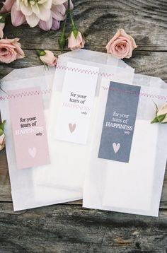 Tissues for tears of happiness | Wedding