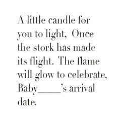 Candle Baby Shower Favor (add this to the votive candle)