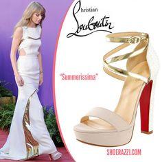 Taylor Swift in Christian Louboutin Vampanodo Black Satin Bow ...